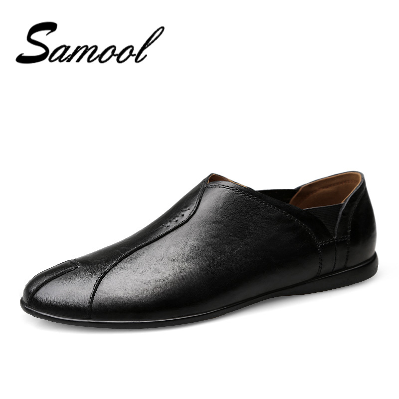 Samool Brand New Spring Autumn Men Genuine Leather Shoes Comfortable Slip-On Men Loafers Fashion Casual Men Flats Shoes ox5 mycolen new men shoes loafers leather white men s casual shoes brand comfortable spring autumn fashion breathable man shoes