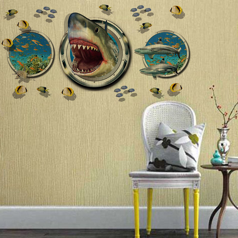 DIY Fashionable Magic Ocean Shark 3D 60x90cm Children Home Decor ...