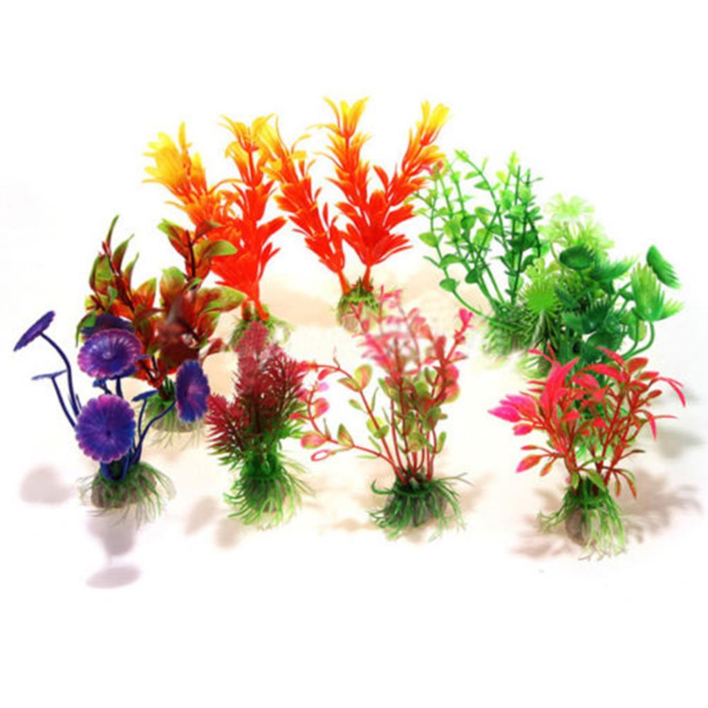 Artificial aquarium fish tank - High Quality Plastic 10 Pcs Mixed Artificial Aquarium Submarine Fish Tank Water Plant Ornament China