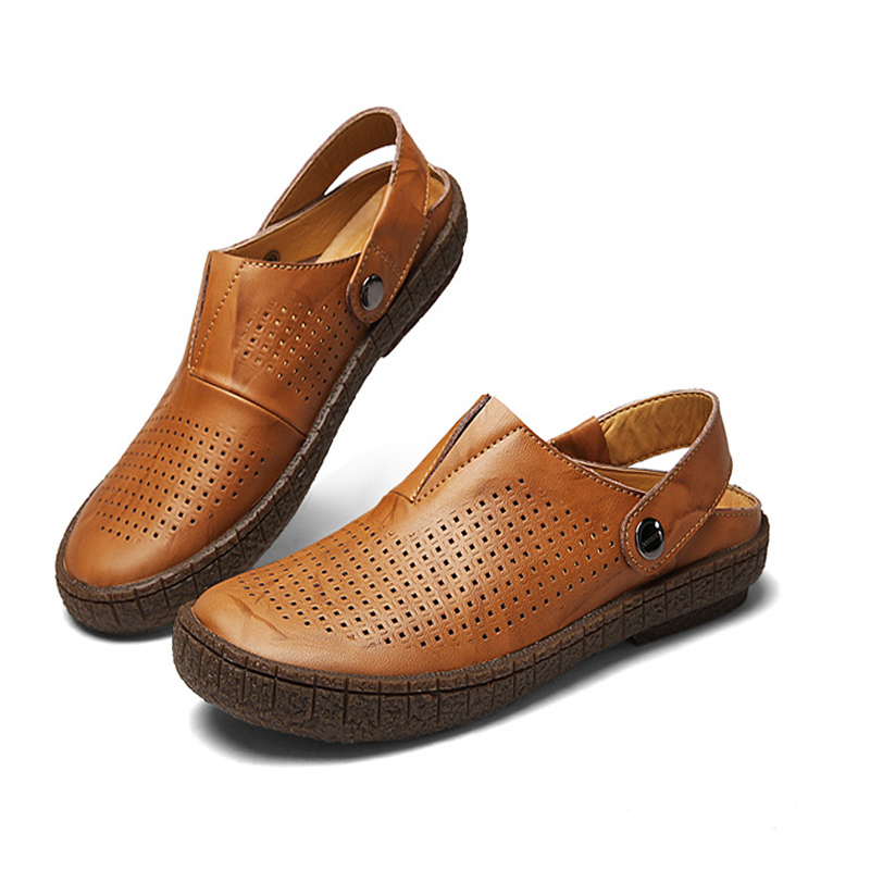2019 Hotsell cow leather Classic Men Outdoor Casual Flats Sandals Fashion Summer Beach Shoes Cheap Top Quality Non-slip Slippers