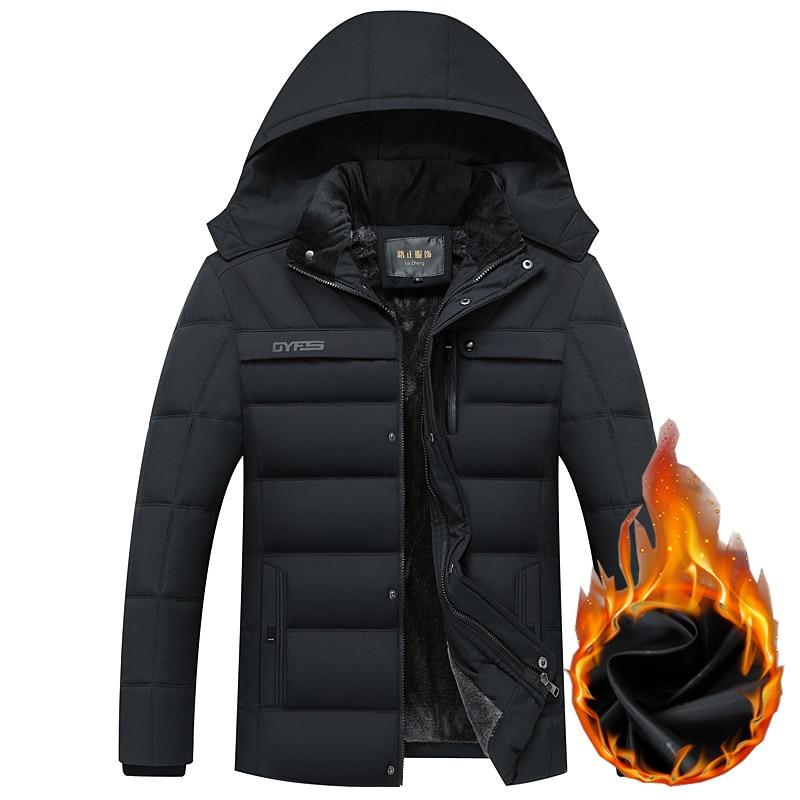 Livraison directe veste d'hiver hommes-20 degrés épaissir Parkas chaud manteau à capuche polaire homme vestes Outwear Jaqueta Masculina LBZ31