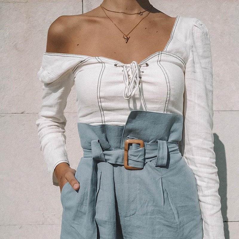 SEGGNICE Sexy Square Neck Long Sleeve Shirt Women Lace Up White Palace Wind Wild Long Sleeves Crop Tops Summer High Street Top in T Shirts from Women 39 s Clothing