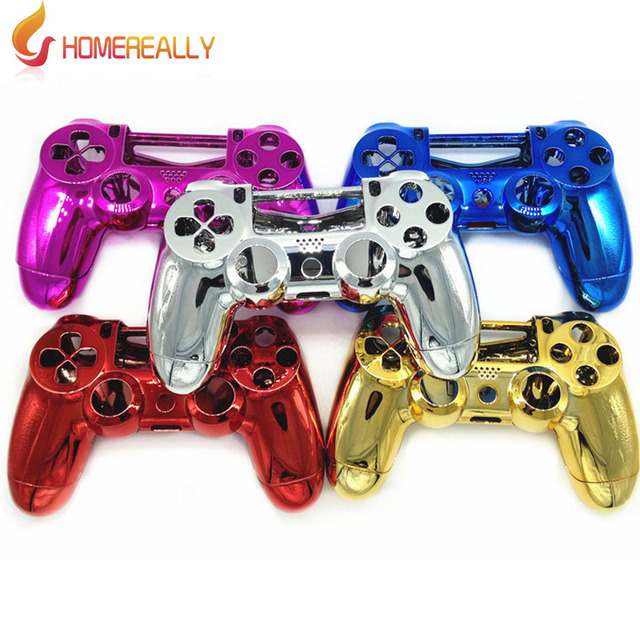 US $10 66 |HOMEREALLY For PS4 Case Chrome Plating Housing Shell Case Full  Mod Kits for PlayStation 4 for PS4 Controller Parts Multicolors-in Cases