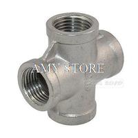 304 Stainless Pipe Fitting 1 1/2 Thread 4 Way Female NPT Cross Coupling Connector
