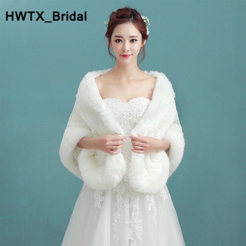 Élégant ivoire mariée veste hiver chaud ivoire fausse fourrure manteau enveloppes châle livraison gratuite mariée Cape boléro mariage vestes 2018