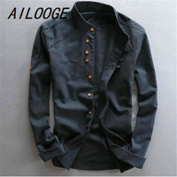 AILOOGE Men's Cotton Linen Shirts Long Sleeve Casual Slim Mandarin Collar Shirts High Quality Men Business Cotton Dress Shirts