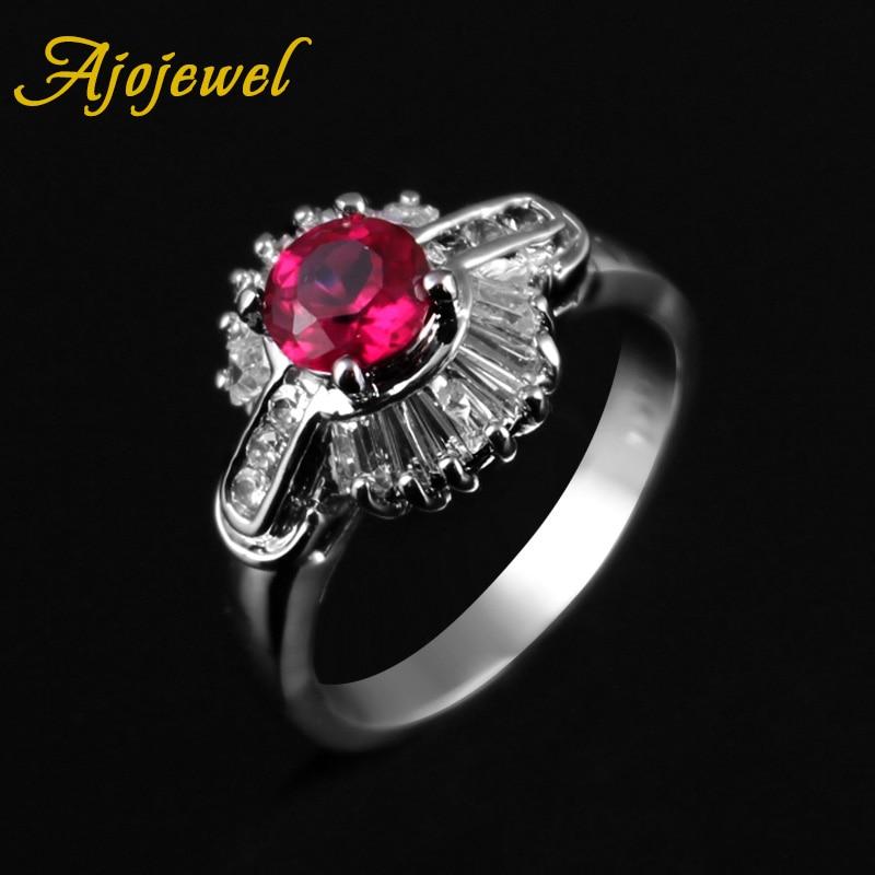 Ajojewel Bela Flor Designer AAA Cubic Zircon Anéis Para As Mulheres De Jóias de Bronze Vermelho Romântico Bijuteria