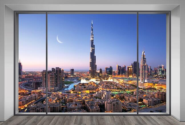 Eco friendly 3d huge mural dubai night view out of the for City view wallpaper mural