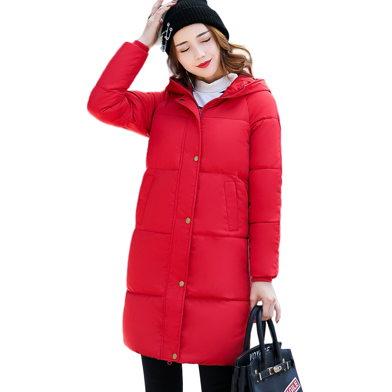 2018 New Solid Winter Jacket Women Hooded Coat Cotton Padded Parkas Long Warm Sweat Girls Cold Outwear Female Down Jacket M-3XL