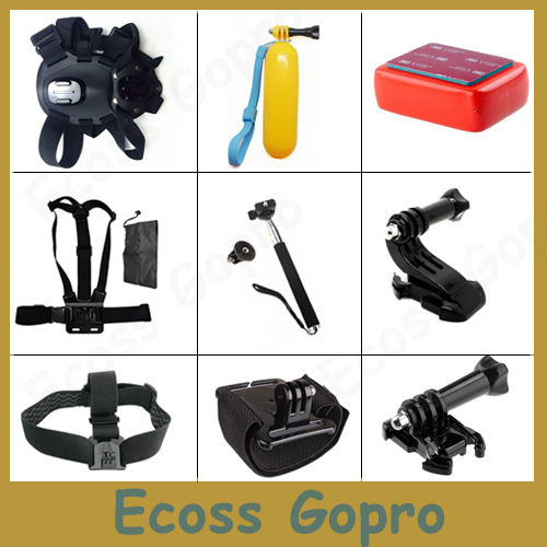 GoPro dog harness fetch+chest body mount+Hand Bobber stick+Monopod tripod For GoPro Hero4 3 3 sj4000 XiaoMi Yi 4k Accessory Set aluminium handheld monopod with tripod mount adapter for xiaomi gopro