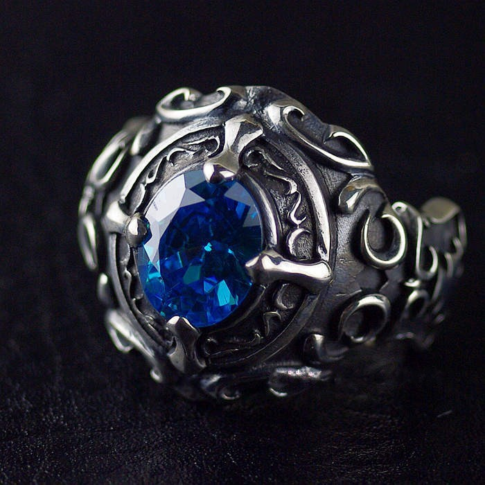 925 sterling silver Boys style Gothic style retro do the old Thai silver ring