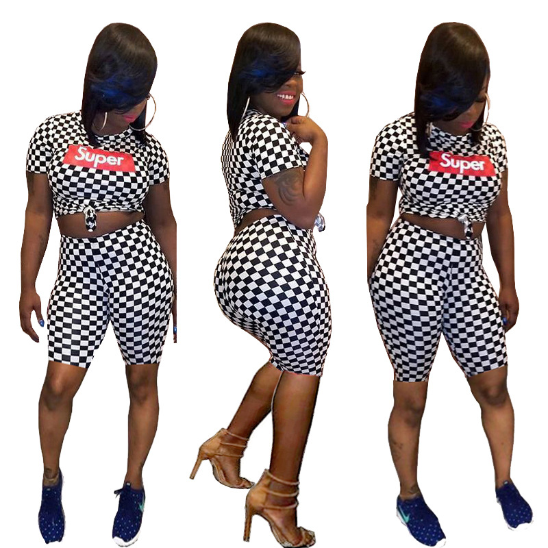 Hot Sale Plaid Tracksuit Women Short Sleeve Two Pieces Set Tops And Pants Casual Body Tracksuit TS752