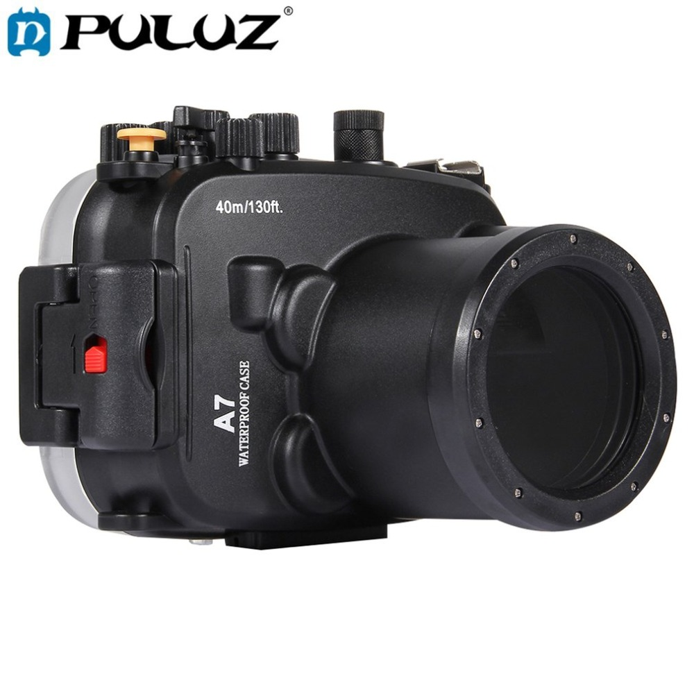 PULUZ 40m Underwater Depth Diving Case Waterproof Camera Housing for Sony A7 / A7S / A7R Lightweight Protective Cover