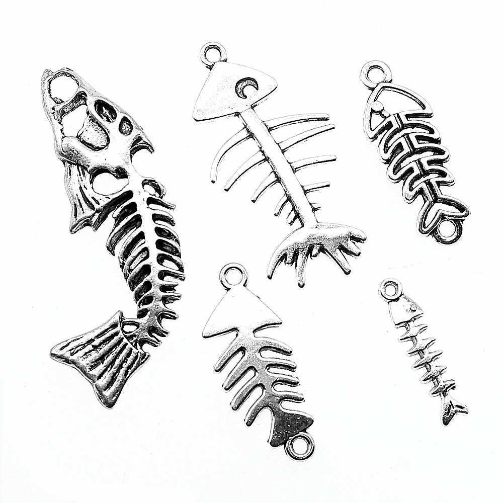 10 Uds. Encantos de hueso de pez para hacer joyas hueso de pescado Color plata antiguo colgante de espina de pez encantos