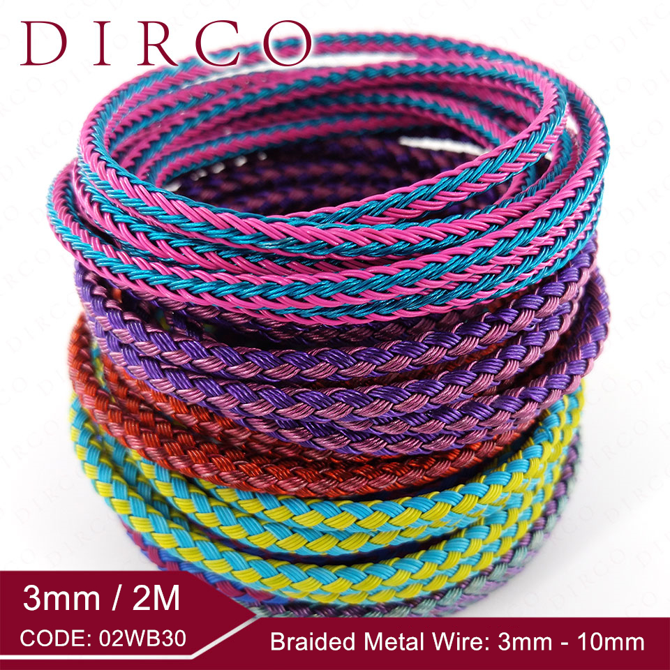 About The Fit 3mm 2Meter Braided Metal Wire Mesh Round Cords Jewelry Accessories Bands Woven Ropes Crafting Collar Making Lacing