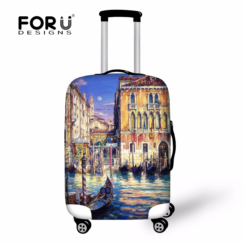 FORUDESIGNS 3D Venice Painting Luggage Protective Covers For 18-30 Inch Trolley Suitcase Protect Dust Cover Travel Accessories