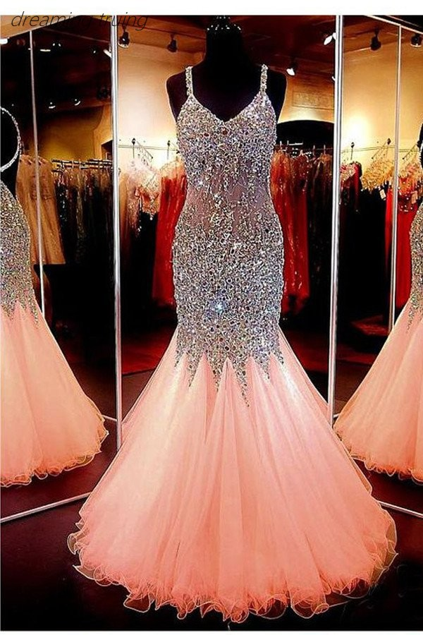 Luxury Peach Mermaid Prom Dresses 2019 With Bling Bling Crystal Beading Spaghetti Strap Arabic Dubai Party Dress Vestido De Gala