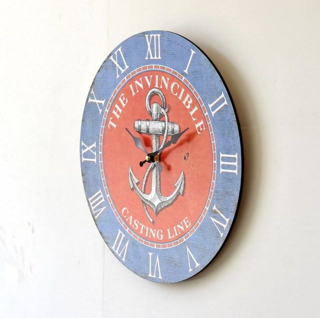 Wood Anchor Wall Clock Mediterranean Style Circular Large Decorative Needle Wall Clocks accessories