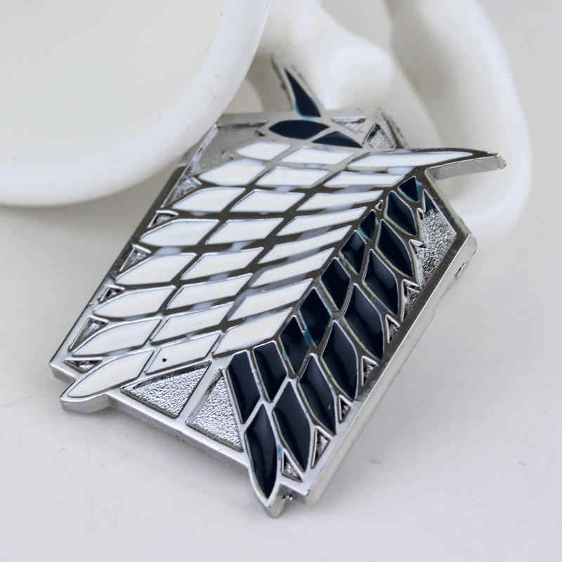 Série anime roupas acessório atacar o titan broche pino de prata alta qualidade emblema pino chapéu gravata tack broches frete grátis