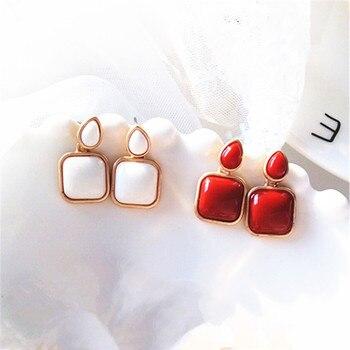 Metal Classic Trendy Red square stud earrings for women temperament geometric Fashion stud earrings Women jewelry.jpg 350x350 - Metal Classic Trendy Red square stud earrings for women temperament geometric Fashion stud earrings Women jewelry wholesale