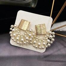 Vintage imitación-perla geométrica mujeres colgantes pendientes Sector perla pendientes bohemios gota