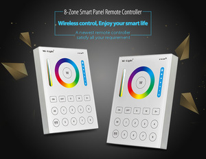 Image 2 - Mi Light 2.4G wireless 8 Zone RF dimmer FUT089 remote B8 Touch Panel Wall mounted rgbww  LS2 5 in 1 led controller for RGB+CCT