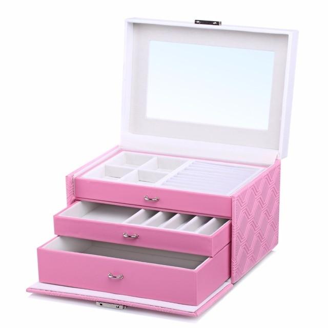 ROWLING Pink Large Velvet Jewelry Storage Box PU Jewellery Rings Boxes Mirror Bracelet Earrings 2 Drawers