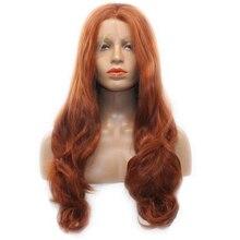 Dlme 360 # цвет кузова волна синтетические кружева перед парики естественный вид цвета: красный и коричневый Glueless жаропрочных волокна волос для женщин
