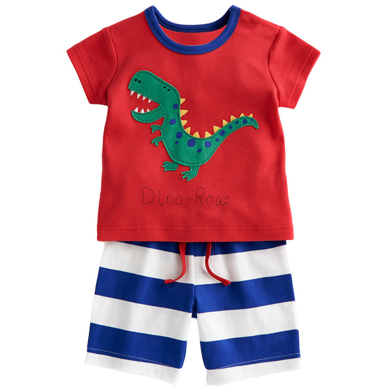 Summer Kids Clothes Boys Outfit Little Dinosaur Pattern Tees and Striped Shorts Boy's Clothing Set Cotton Children's Sets