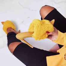 Г., яркие сандалии в европейском стиле роскошные босоножки на высоком каблуке с кроличьим мехом женская обувь для вечеринок, Размеры 35-43