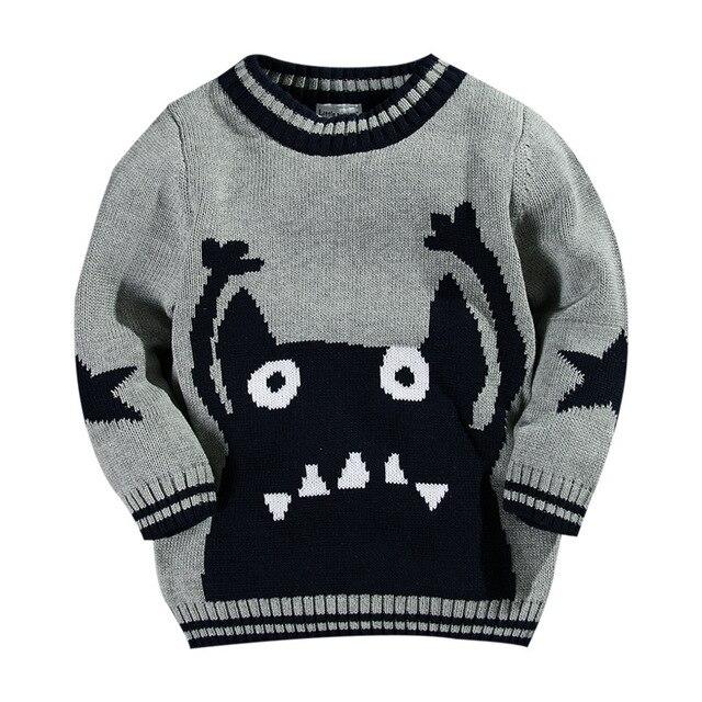 Новая мода детей свитер бренда мальчиков 3 т 4 т бесплатный шаблон вязание пуловер наряд мультфильм печатных детские органических хлопок