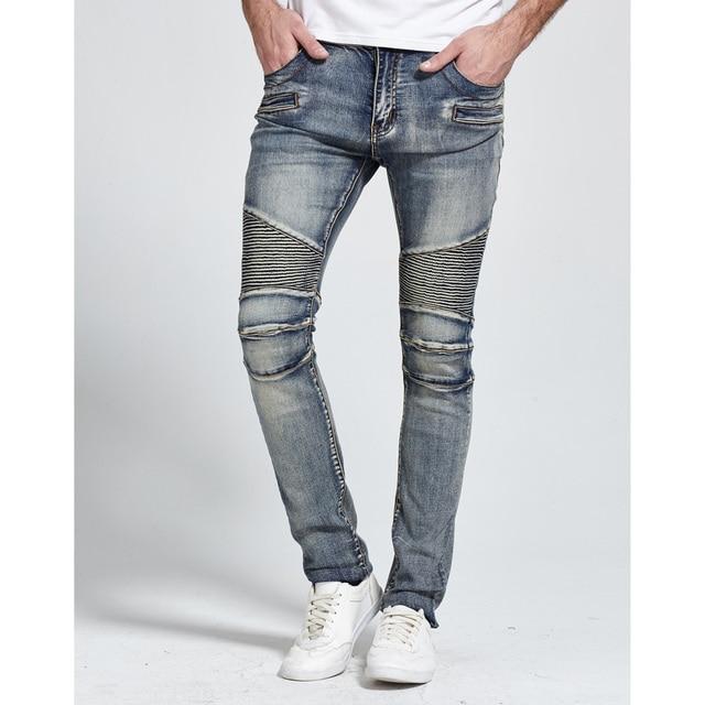 2017 Men Jeans Design Biker Jeans Skinny Strech Casual Jeans For Men Good Quality H1703 2