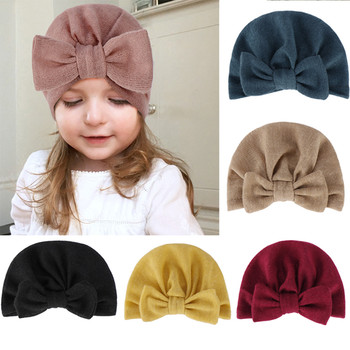 Winter Baby Hat Infant Warm Soft Bowknot Hat Rabbit Ears Elastic Lovely Girls Beanies Cap for 0-3Y Newborn Knitted Cap Skullies taza de m&m