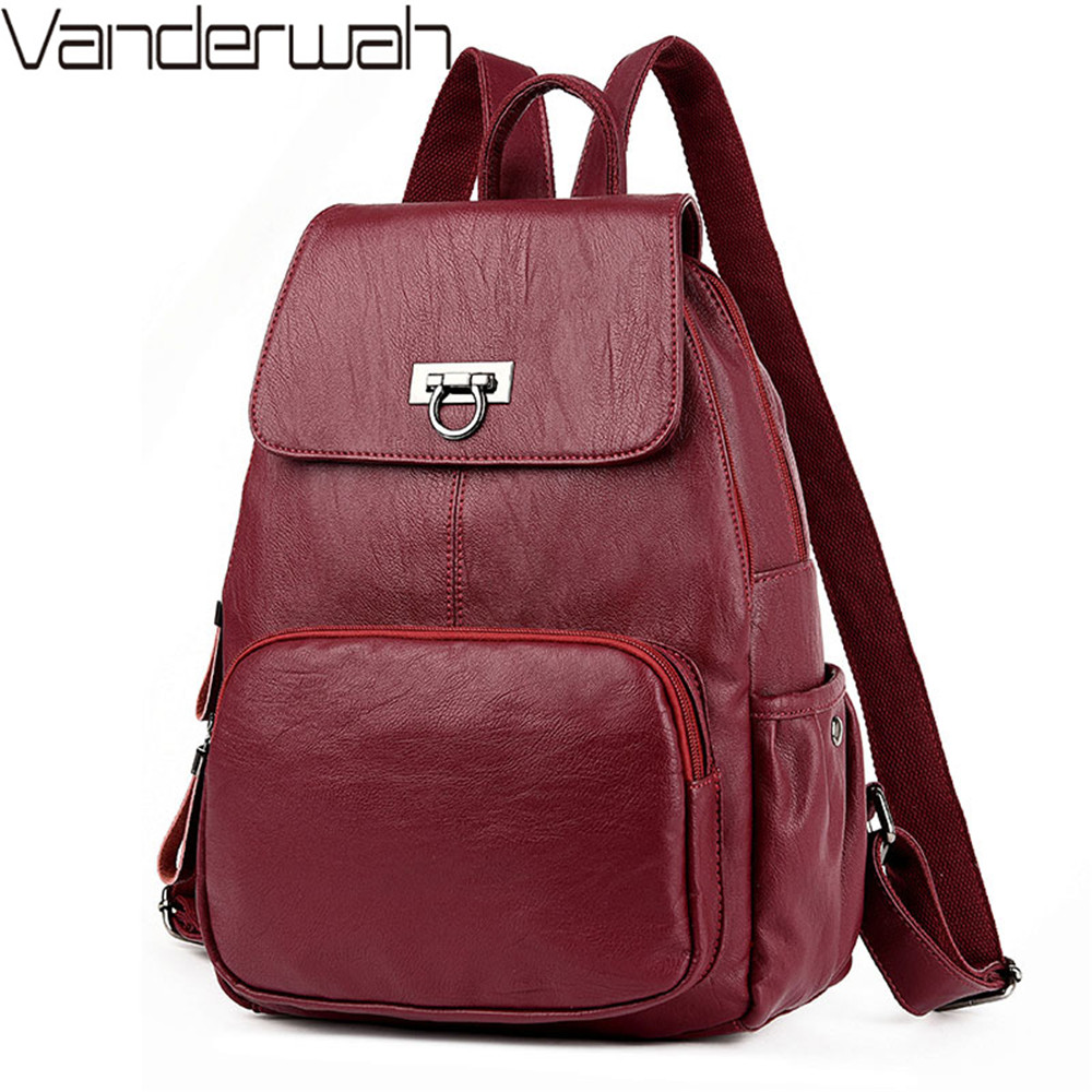 52565e9eda85 Модный женский рюкзак для отдыха, однотонный кожаный рюкзак высокого  качества, женская дизайнерская школьная сумка