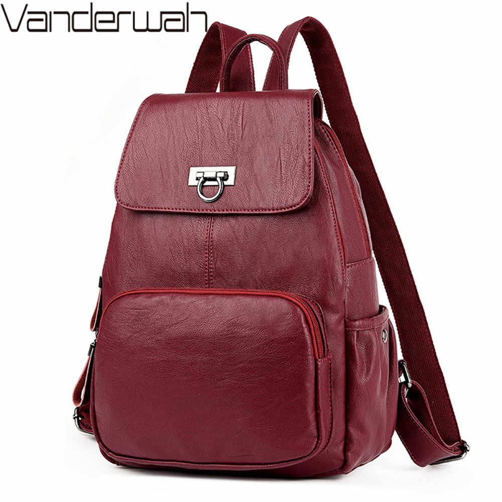 Модный женский рюкзак для отдыха, однотонный высококачественный Кожаный Фирменный женский рюкзак, школьная сумка для девочек-подростков, рюкзак для путешествий