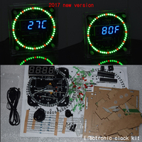 2017 New Version DS1302 Rotation 51 SCM Learning Board Acrylic Case LED Electronic Clock Diy Kit
