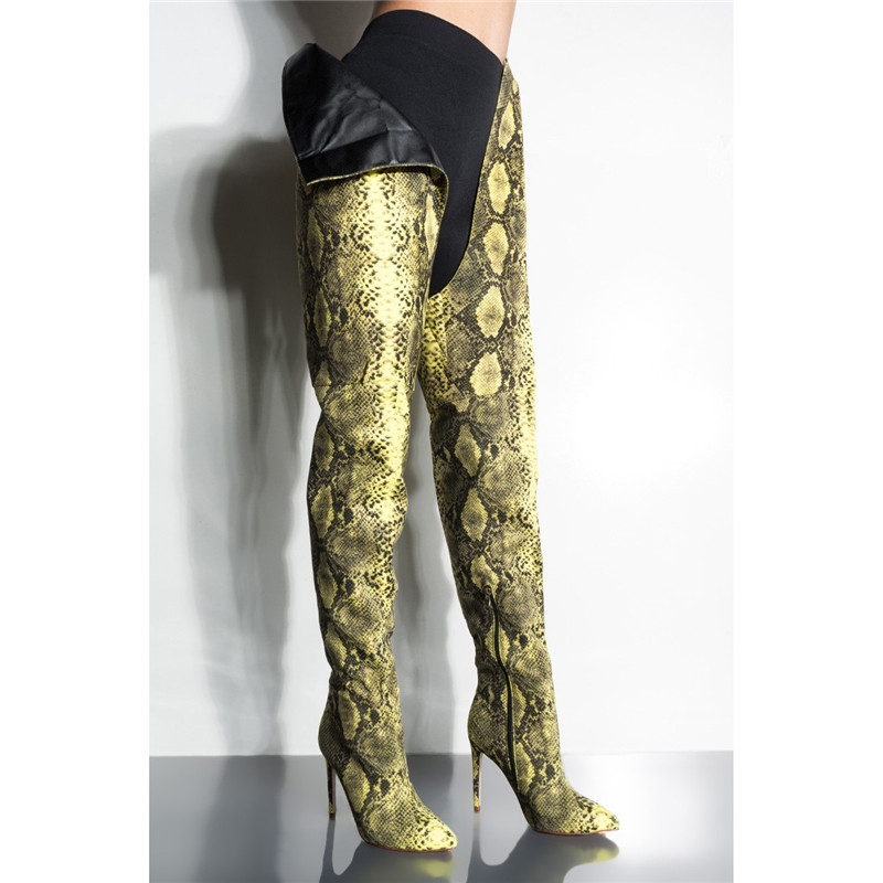 As Invierno Botas La Imprimir Entrepierna Del Piel Cintura 2019 Moda Rodilla Serpiente Mujeres Nuevo Sexy Python Pic Alta Sobre De Pantalón Mujer Muslo Largo qB4Cfpxw