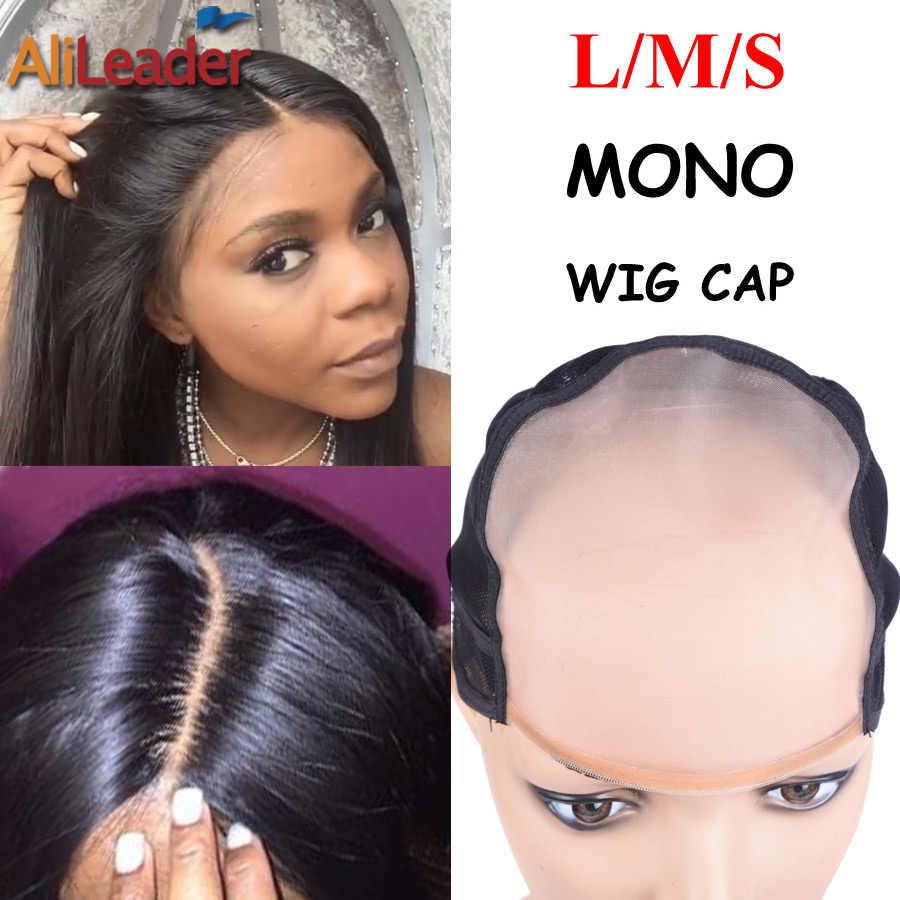 Peruca monofilamento-tampa de peruca, mais semelhante ao couro cabeludo, com tamanho l m s, tampa mono para fazer perucas com correia ajustável 1 peça