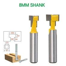 T סוג חור מנעול כרסום קאטר 8mm Shank נתב עיבוד עץ עץ חותכי חתך תלוי מסגרת חיתוך כלים