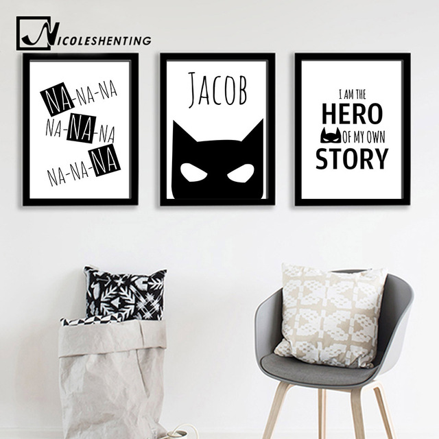 Batman Mask Wall Art Canvas Print Personalized Name Custom Poster Nursery Quote Painting Nordic Picture Kids  sc 1 st  AliExpress.com : custom wall art canvas - www.pureclipart.com