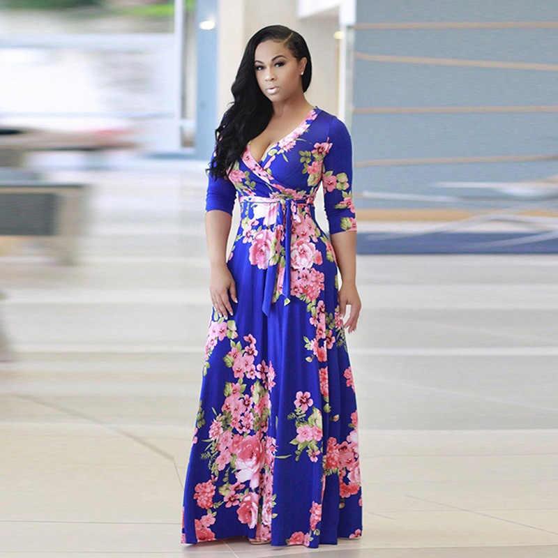 ce2bf932d69f4 2018 Boho Sexy V Neck Women Robe Dress Half Sleeve Floral Print Long Dress  Female Loose Beach Maxi dress Vestidos Large Size 5XL