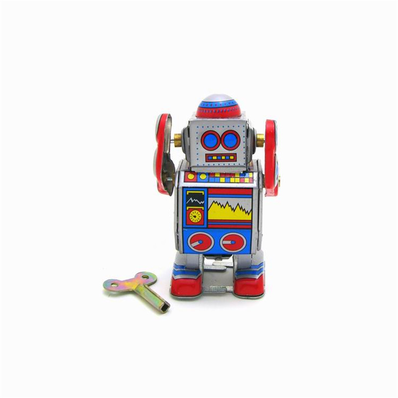Classic Vintage Clockwork Wind Up Robot Photography Reminiscence Children Kids Tin Toys  ...