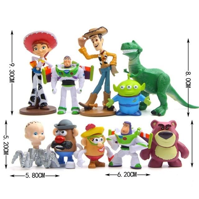 10pcs Set Cartoon Toy Story Woody Buzz Lightyear Jessie Rex Lotso