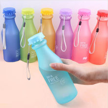 Candy Colors Unbreakable Frosted Leak-proof Plastic kettle 550mL BPA Free Portable Water Bottle for Travel Yoga Running Camping(China)