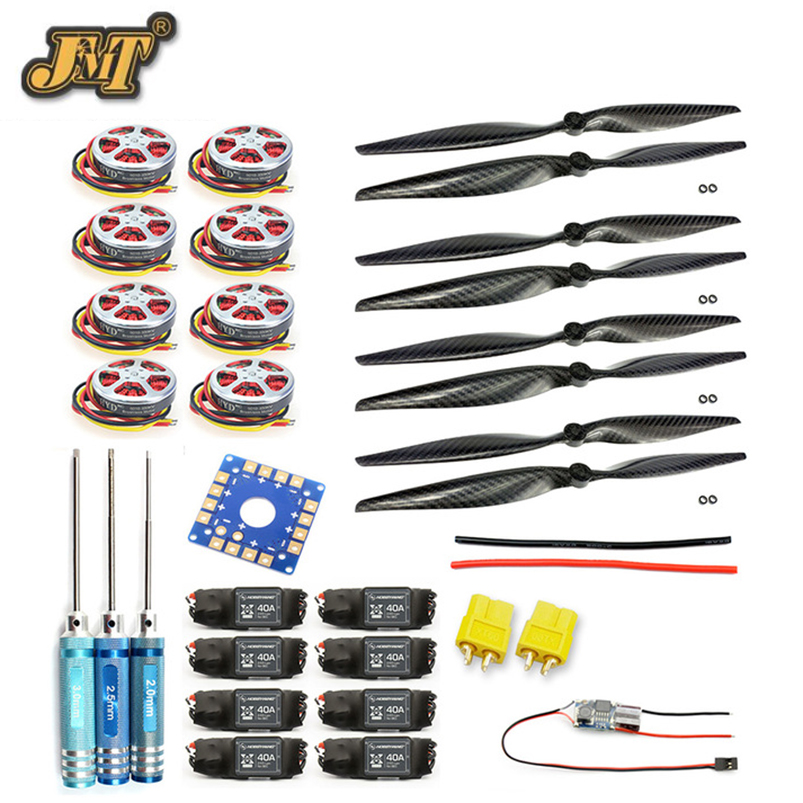JMT 8-Axis Foldable Rack RC Helicopter Kit KK Connection Board+350KV Brushless Disk Motor+15x4.0 Propeller+40A ESC jmt j510 510mm carbon fiber 4 axis foldable rack frame kit with high tripod for diy helicopter rc airplane aircraft spare parts