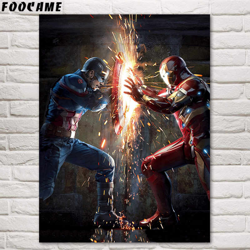 FOOCAME Captain America Iron Man Avengers Movies Posters Silk Print Decorative Picture Decoration Painting Wall Art Home Decor