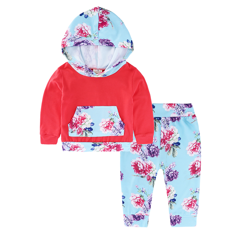 Kids Baby Girls Clothing Sets Casual Red Cotton Long Sleeve Hooded Pullover Tops Flower pattern Pants Newborn Clothes Outfits