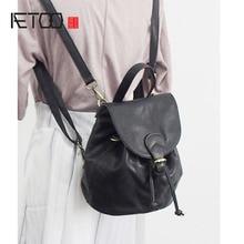 Aetoo кожа небольшой женский новый корейский вариант мини ведро сумка кожаная сумка три