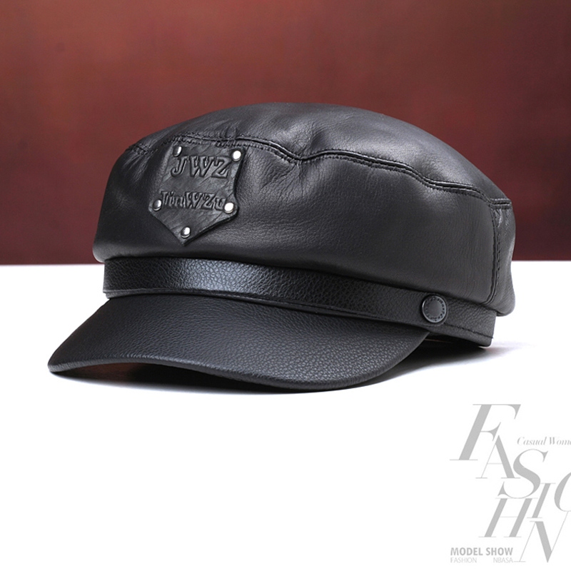 Svadilfari new 2018 military hat 100 high quality cow leather winter warming men women cap for