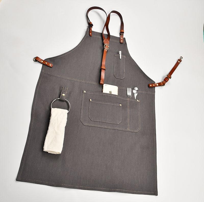 Denim Keuken Koken Schort met Verstelbare Katoen Band Grote Zakken Blauw Barista Mannen en Vrouwen Homewear - 3